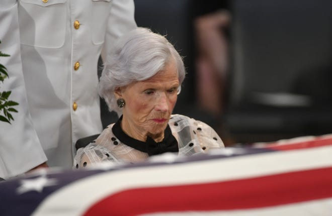 Roberta McCain pays her respects as the body of her son, John McCain, lies in state at the U.S. Capitol in Washington on Aug. 31, 2018.