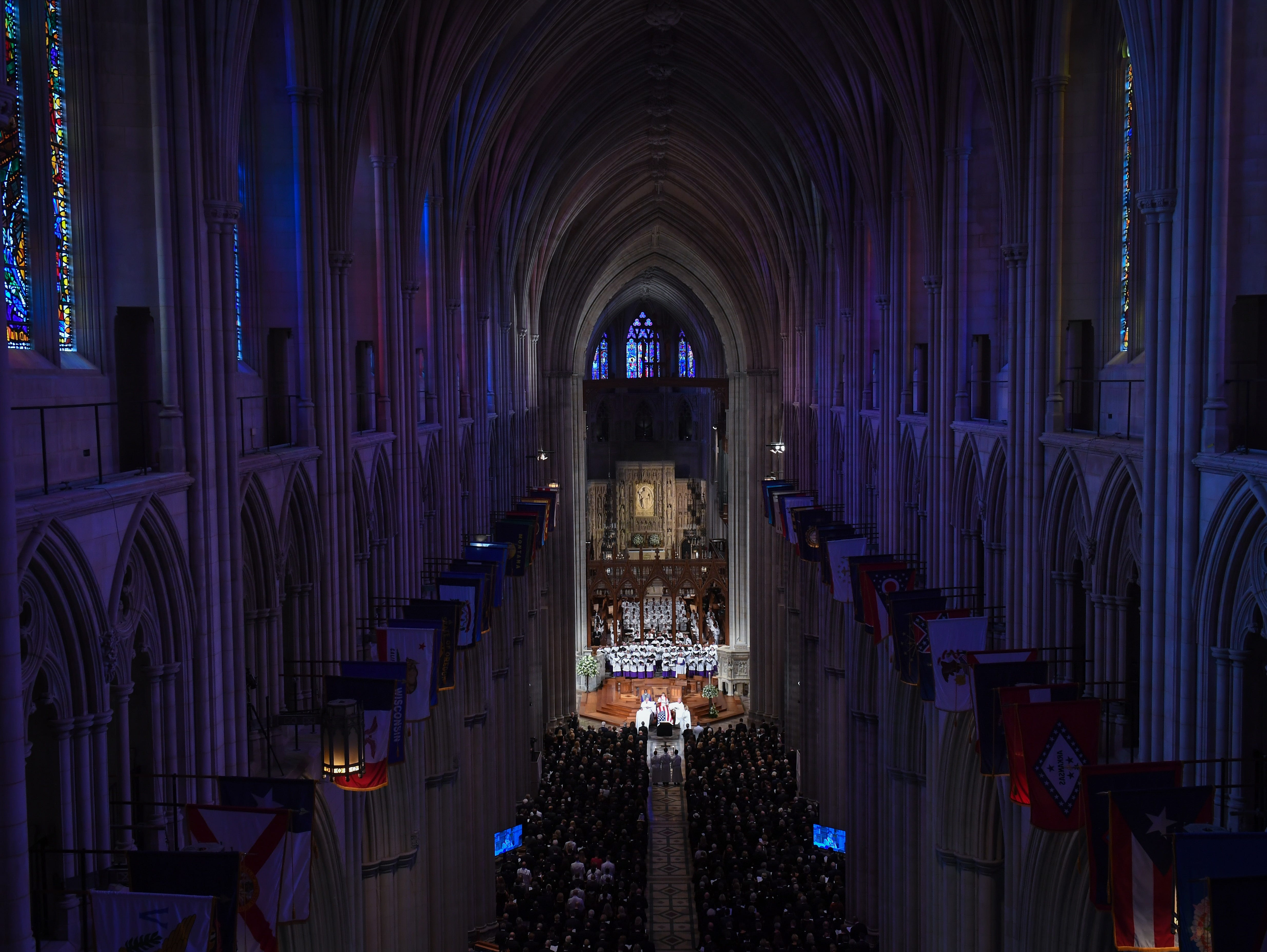 The memorial service for John McCain at the National Cathedral in Washington, DC, on Sept. 1, 2018.