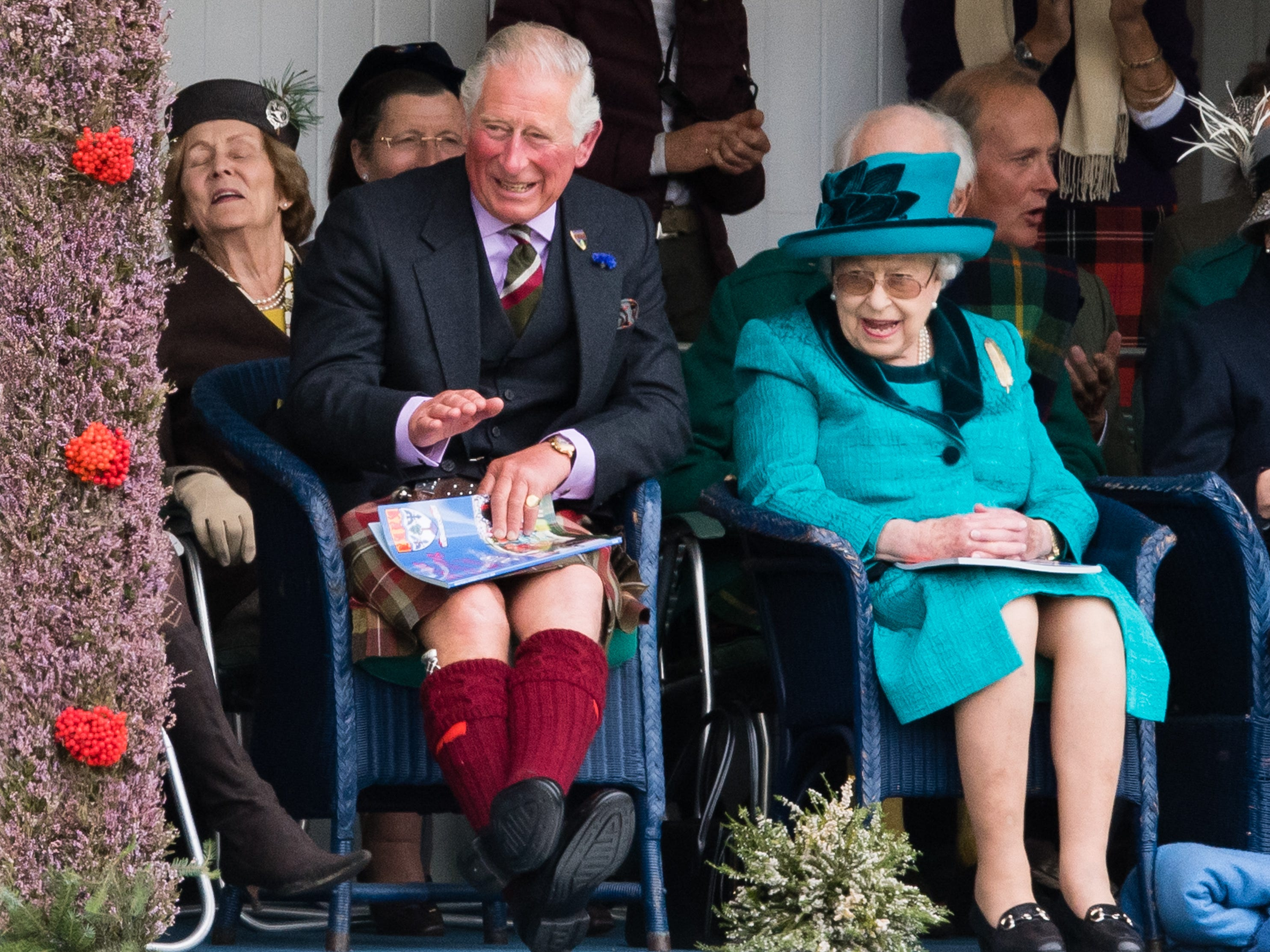 Prince Charles, Prince of Wales and Queen Elizabeth II attend the 2018 Braemar Highland Gathering at The Princess Royal and Duke of Fife Memorial Park on Sept. 1, 2018 in Braemar, Scotland.