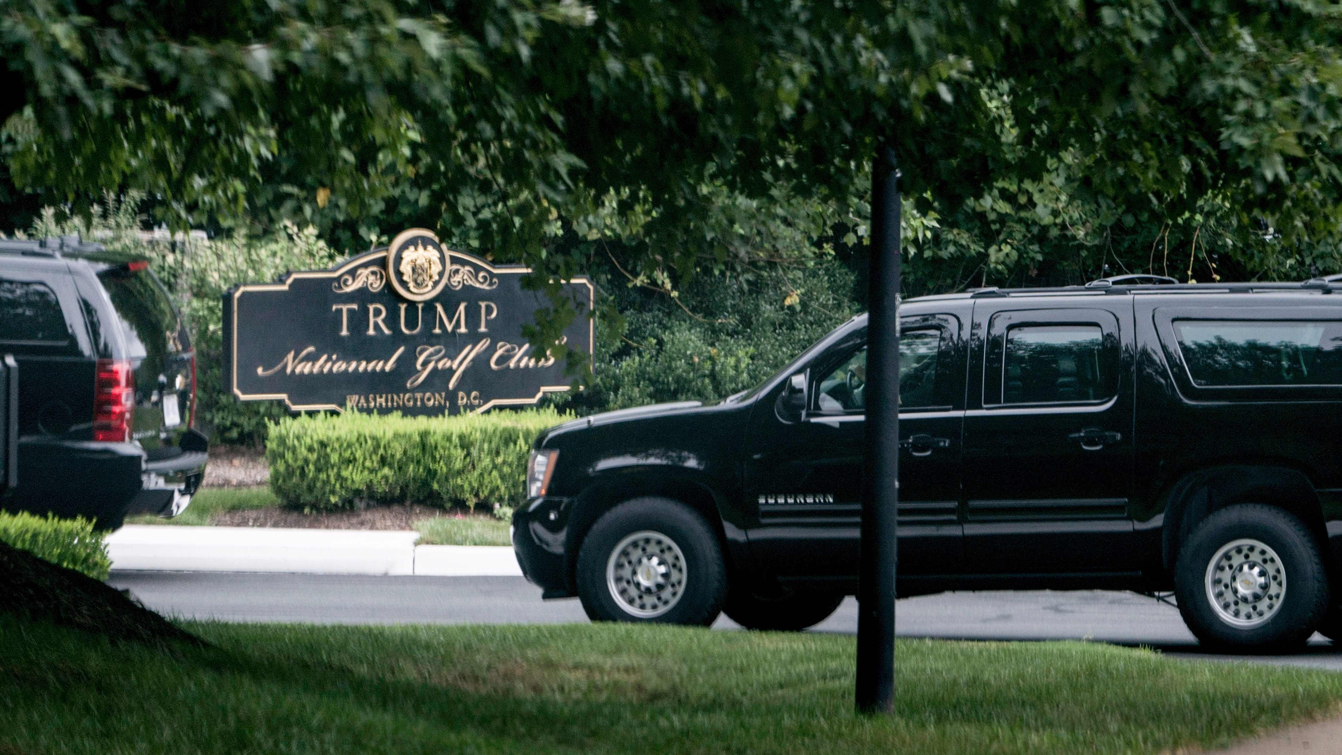 Image result for trump  golfing + mccain funeral