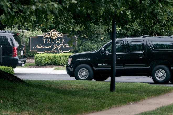 An armored vehicles arrives with President Donald Trump at the Trump National Golf Club on September 1, 2018 in Sterling, Virginia. Trump on Saturday went to one of his golf courses as the final public ceremony honoring late U.S. senator John McCain was underway in Washington.