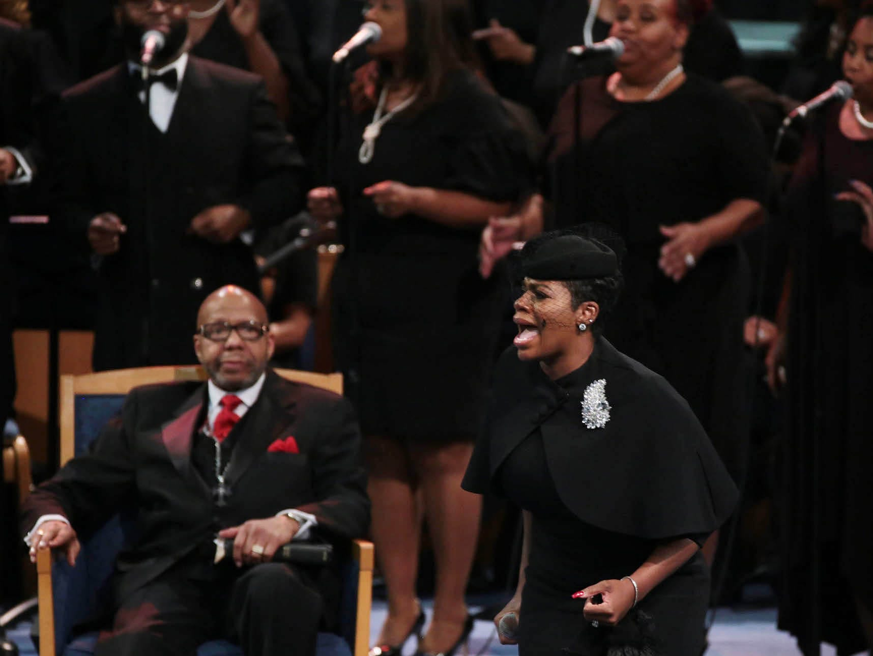 "Fantasia, the Season 3 winner of ""American Idol,"" kicked off her shoes before performing ""Precious Lord, Take My Hand."""