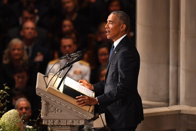 President Barack Obama at the memorial service for John McCain at the National Cathedral in Washington on Sept. 1, 2018. Sen. McCain on Aug. 25.