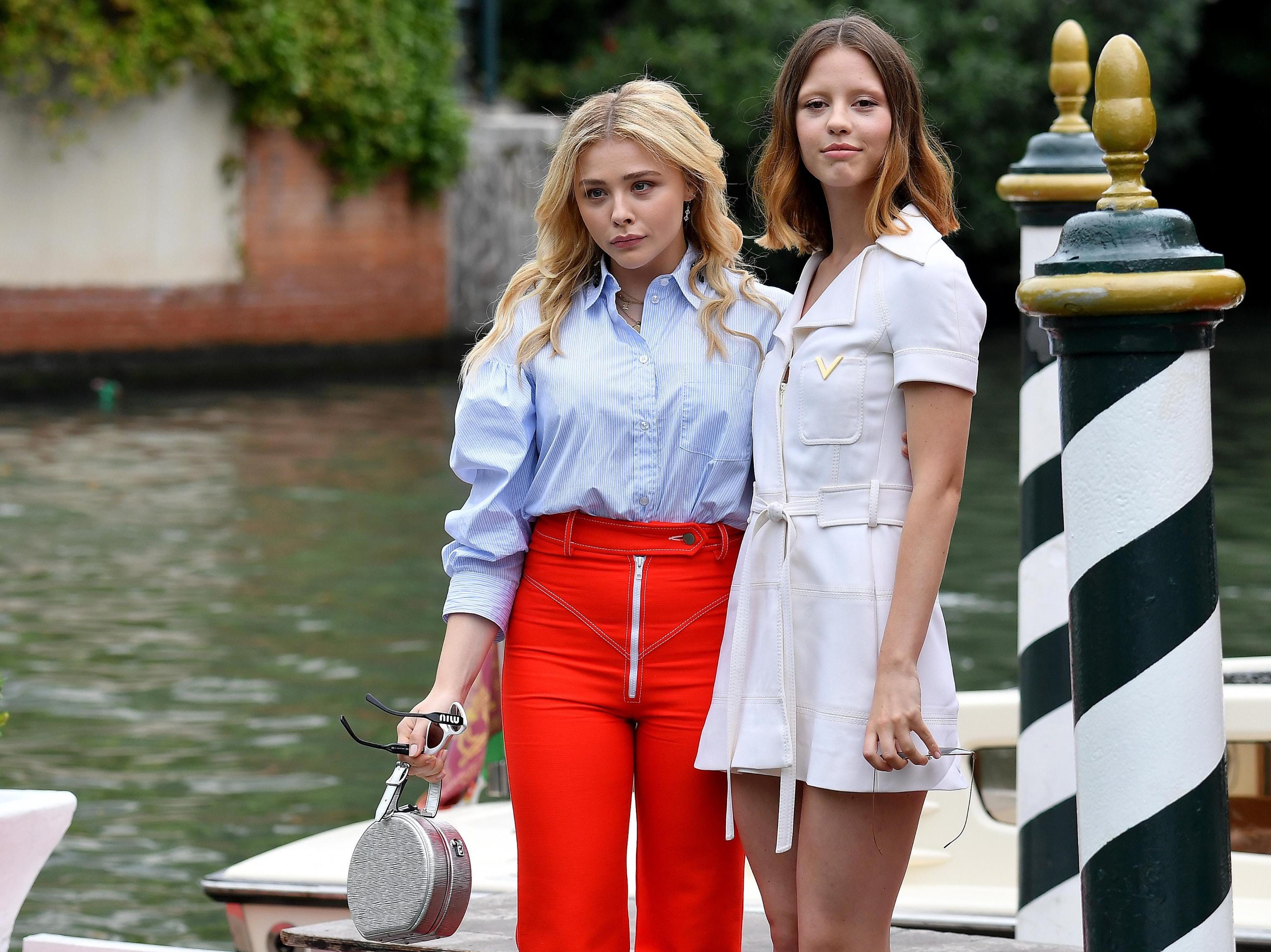 Chloe Grace Moretz and British actress Mia Goth arrive at the Lido Beach together.
