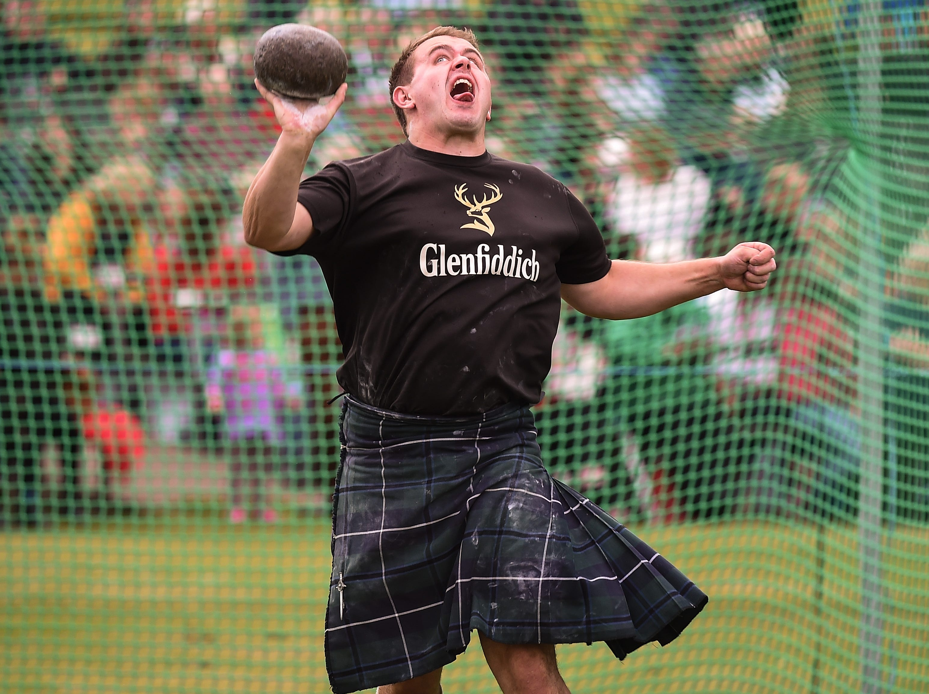 Heavy weight competitors take part at annual Braemer Highland Games at The Princess Royal and Duke of Fife Memorial Park on Sept. 1, 2018in Braemar, Scotland.