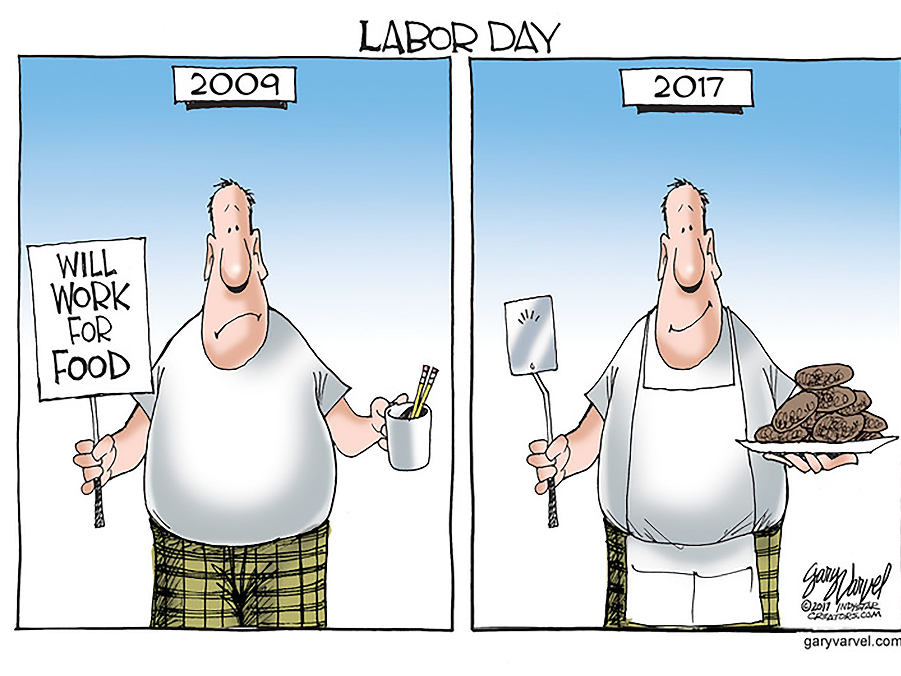 First published for Labor Day 2017. The cartoonist's homepage, indystar.com/opinion/varvel