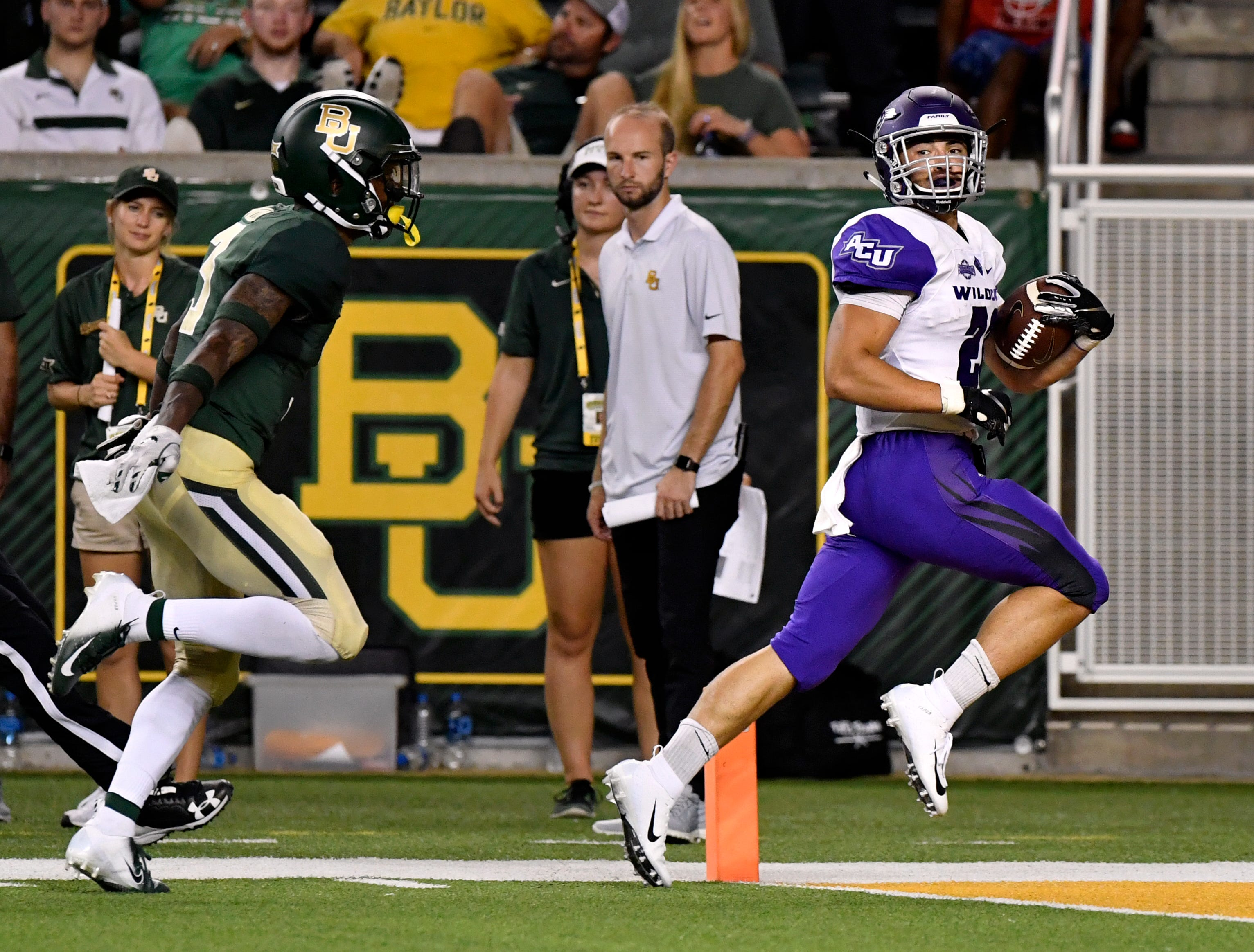 Wildcats running back Billy McCrary scores the second touchdown for Abilene Christian University Saturday Sept. 1, 2018 at Baylor.
