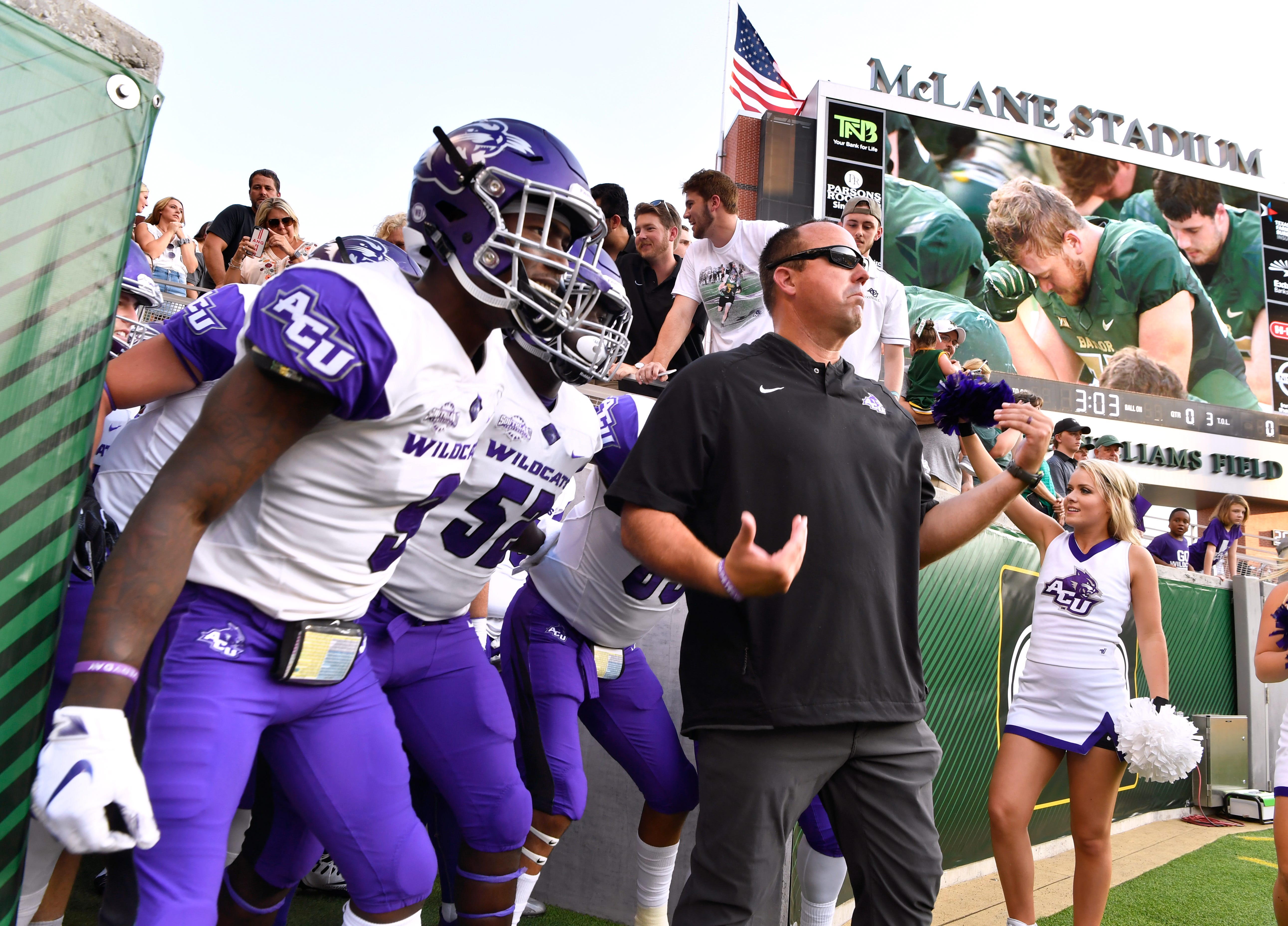 Abilene Christian University head coach Adam Dorell waits to lead the Wildcats onto the field in McClane Stadium at Baylor University Saturday Sept. 1, 2018.