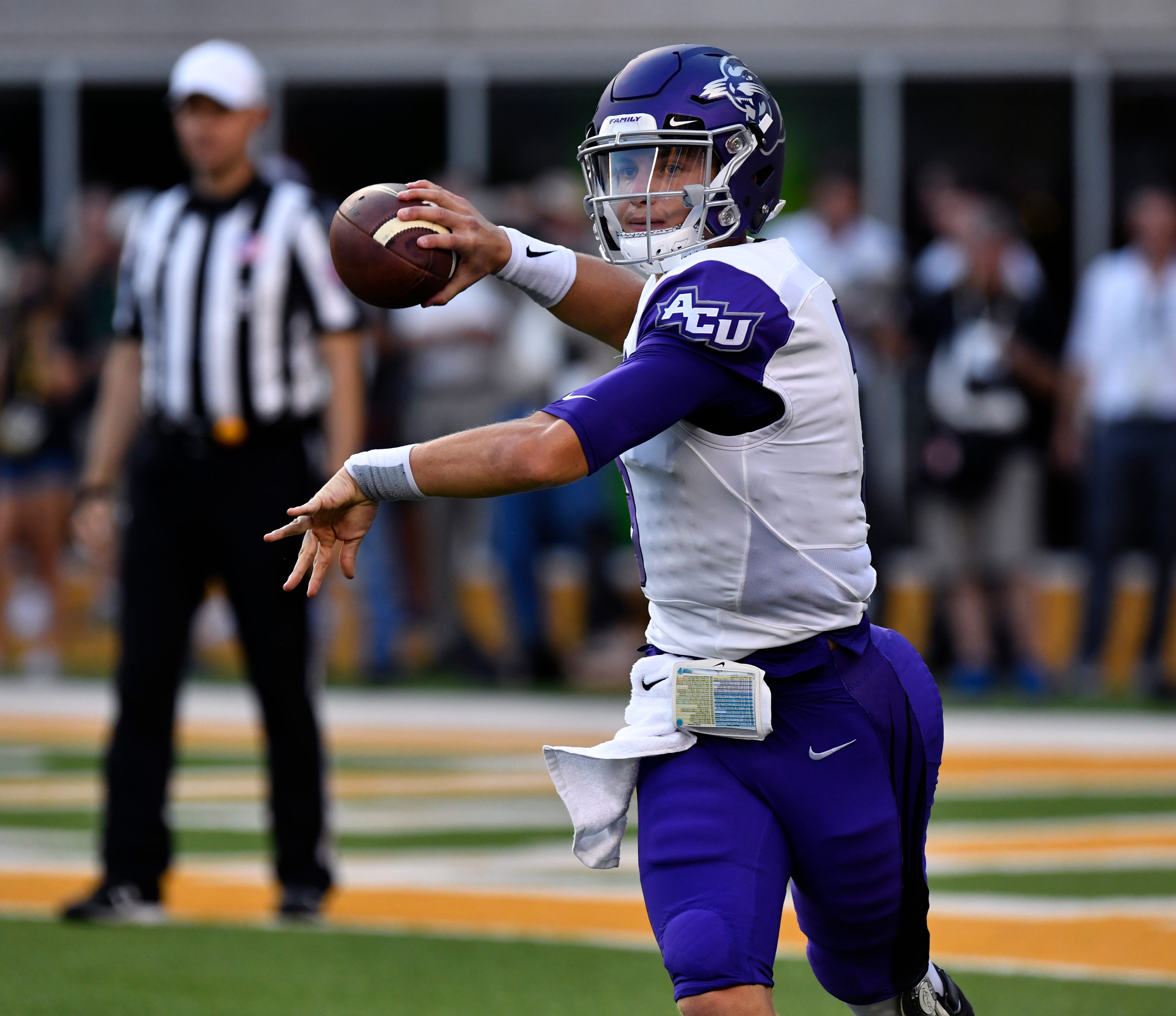 ACU quarterback Luke Anthony throws a pass during the Wildcats' game against Baylor on Saturday in Waco. Baylor won the game 55-27 in the first meeting between the two teams.