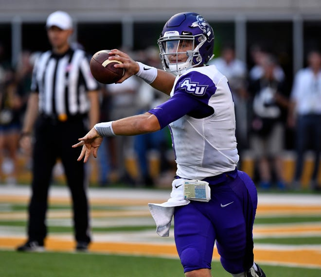 ACU quarterback Luke Anthony throws a pass during the Wildcats' game against Baylor Saturday Sept. 1, 2018 in Waco.