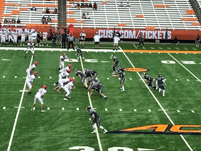 Chenango Forks and Central Square play a non-league game Saturday night at the Carrier Dome. The Blue Devils won, 34-12.