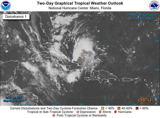 A graphic from the National Hurricane Center shows the position of a tropical wave, Invest 91L, on Sunday morning.