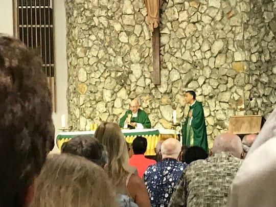 Services at Our Saviour Catholic Church on Sunday.