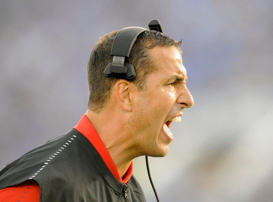 Cincinnati Bearcats head coach Luke Fickell reacts following a safety scored by the defense against the UCLA Bruins during the second half at the Rose Bowl. Mandatory Credit: Gary A. Vasquez-USA TODAY Sports