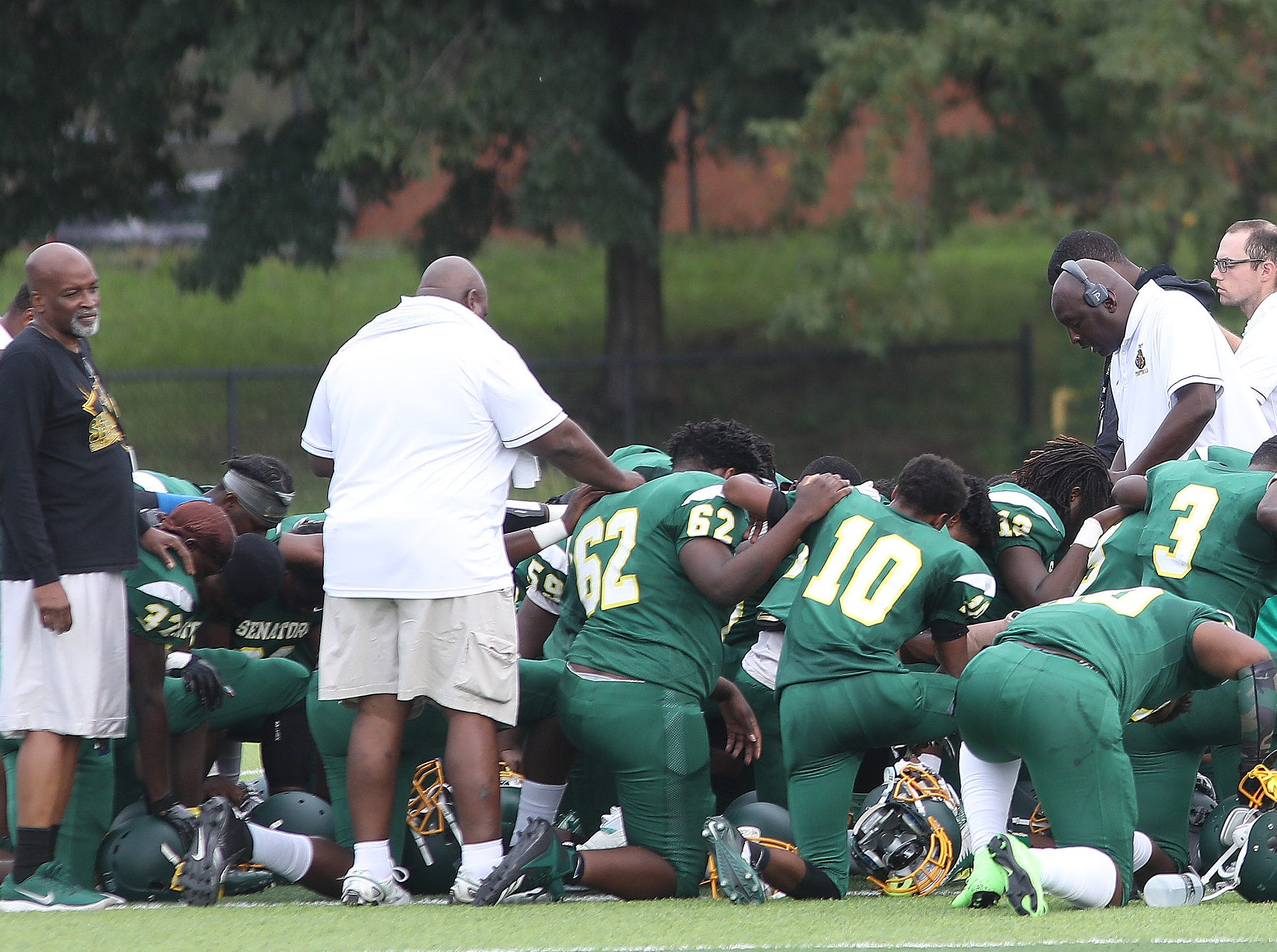 Taft's  football team gathers before their football game against Wyoming , Saturday , Sept. 1, 2018.