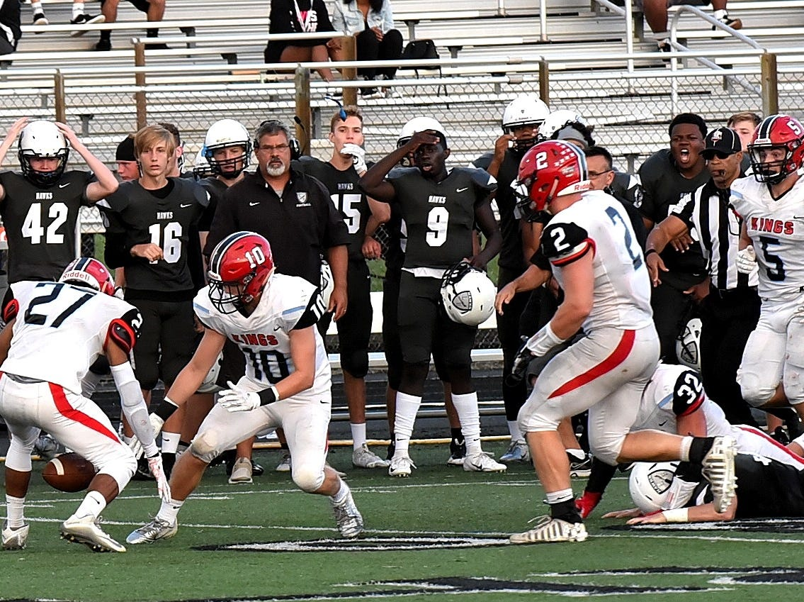 The Kings defense strips Lakota East of the football and seals a weather delayed win 27-24, Sept. 1, 2018.