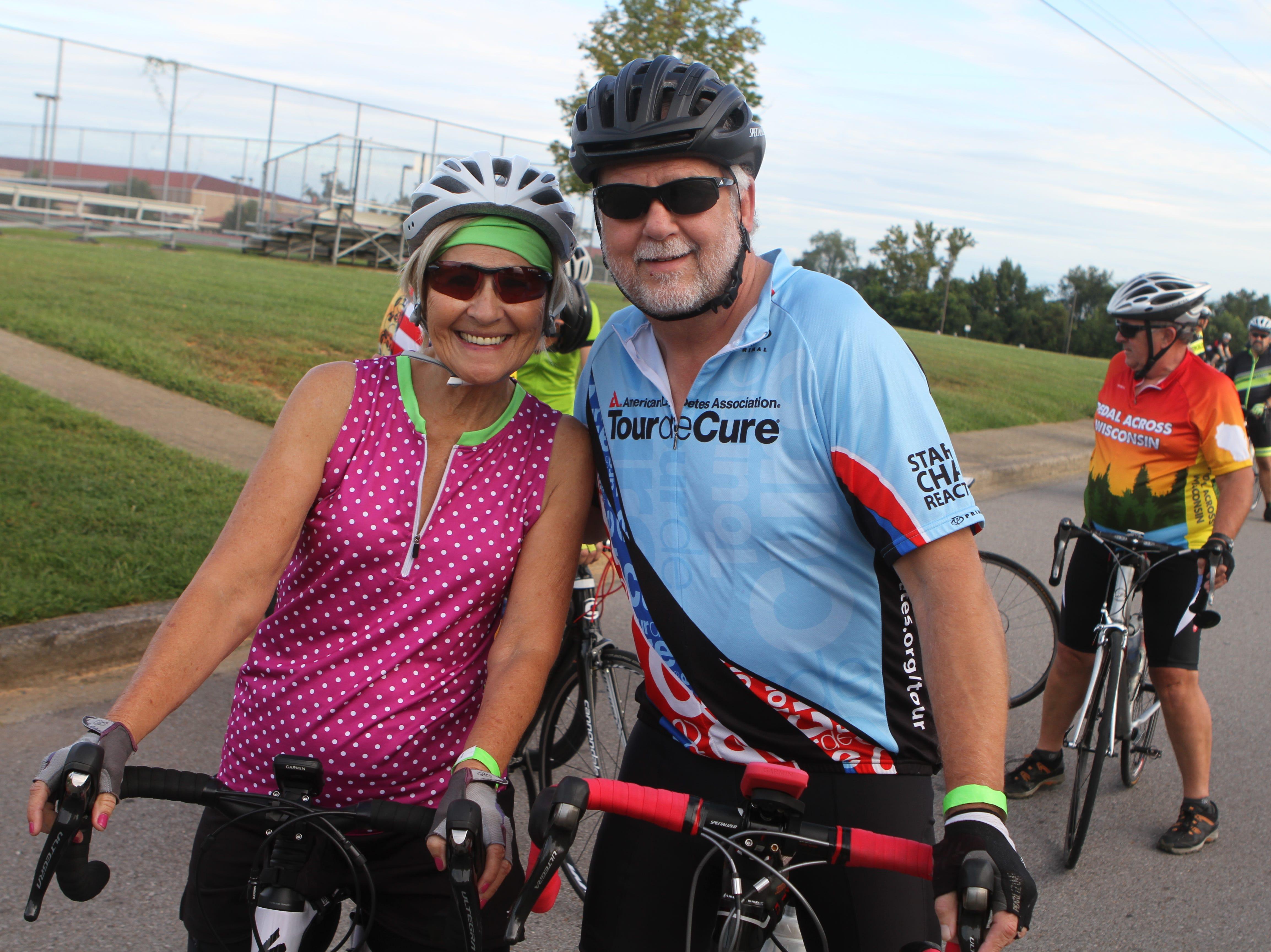 Carol and Jim Richards at the Sunrise Century Bike Ride Saturday.