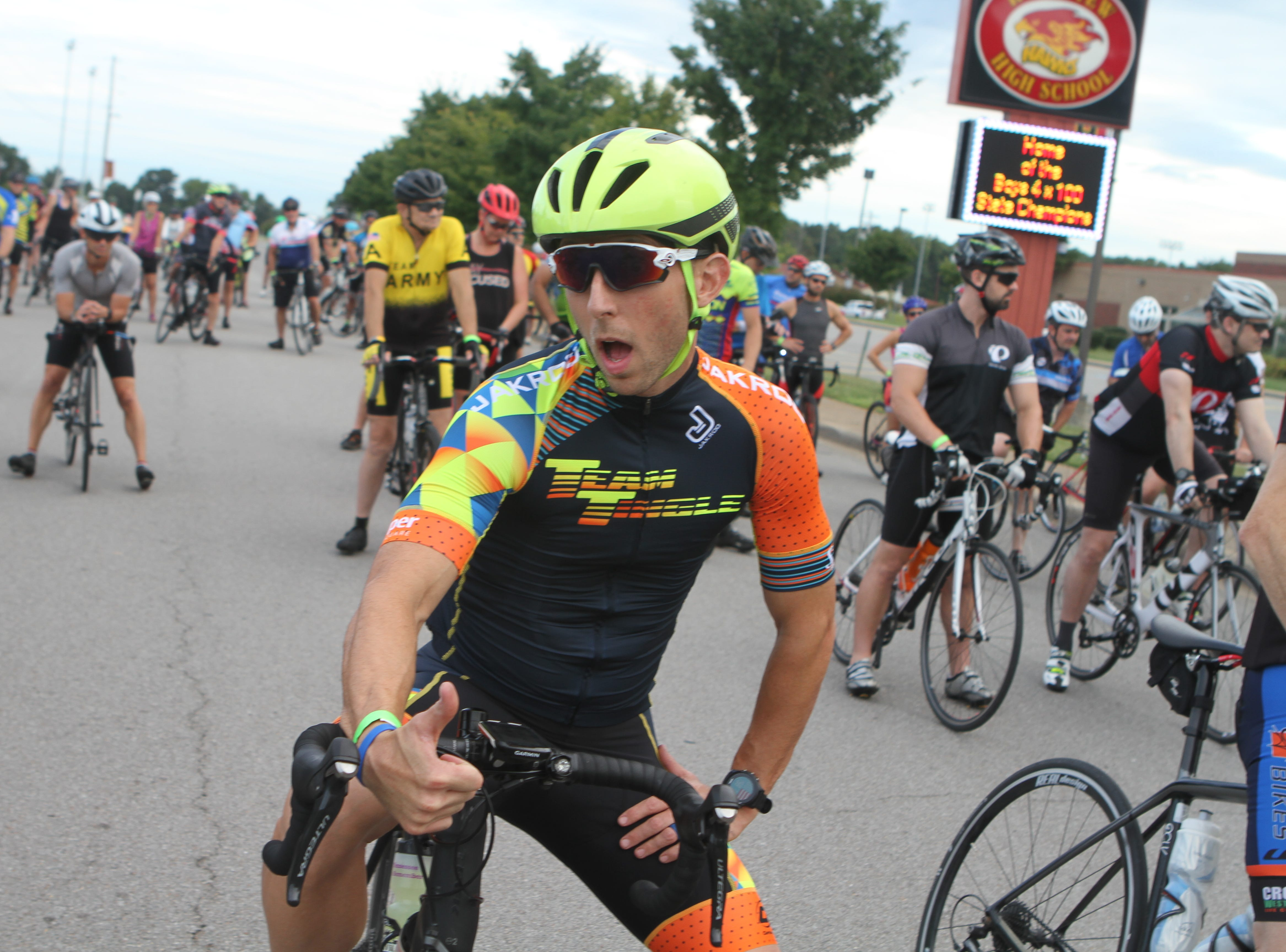 Clarksville's Sunrise Rotary club hosted its annual Sunrise Century Bike Ride Saturday, with more than 700 riders participating at distances of 33, 62 or 100 miles.