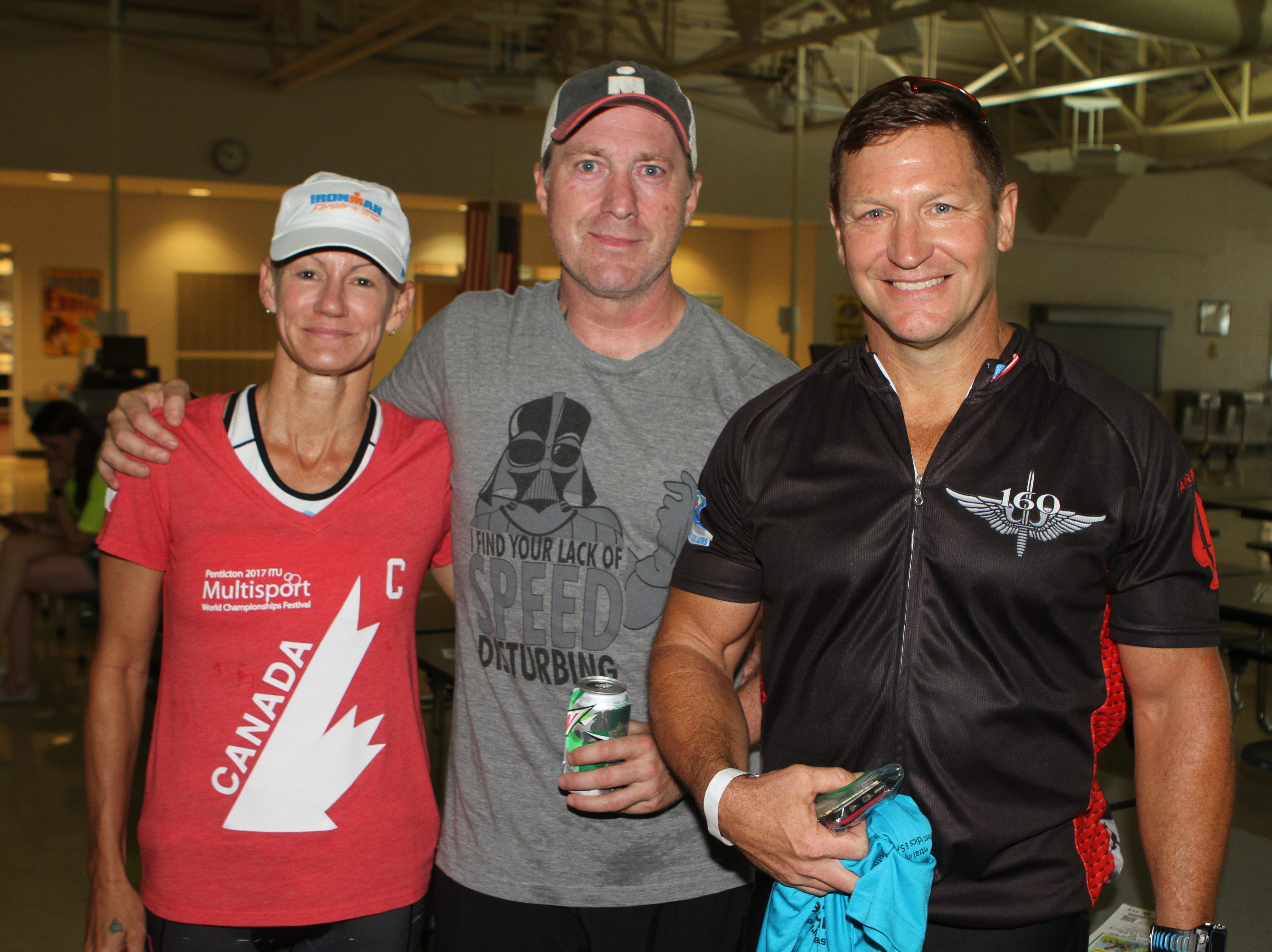 Sheri and Sean Jones and Scott Hutcheson completed 33 miles in 1 hour, 32 minutes at the Sunrise Century Bike Ride Saturday.