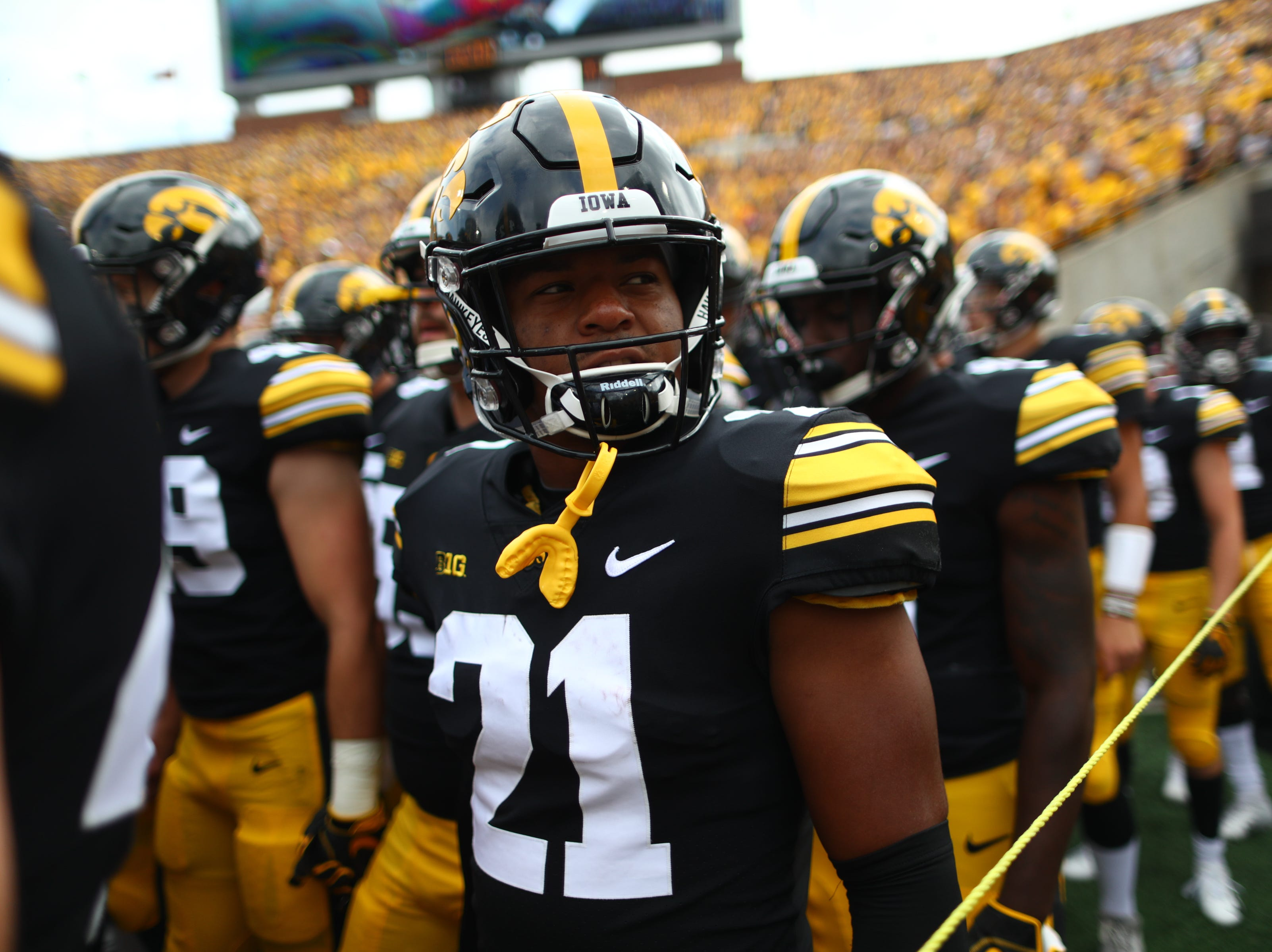 Iowa's Ivory Kelly-Martin waits to storm the field with teammates before the Hawkeyes' game against Northern Illinois at Kinnick Stadium on Satuday, Sept. 1, 2018.