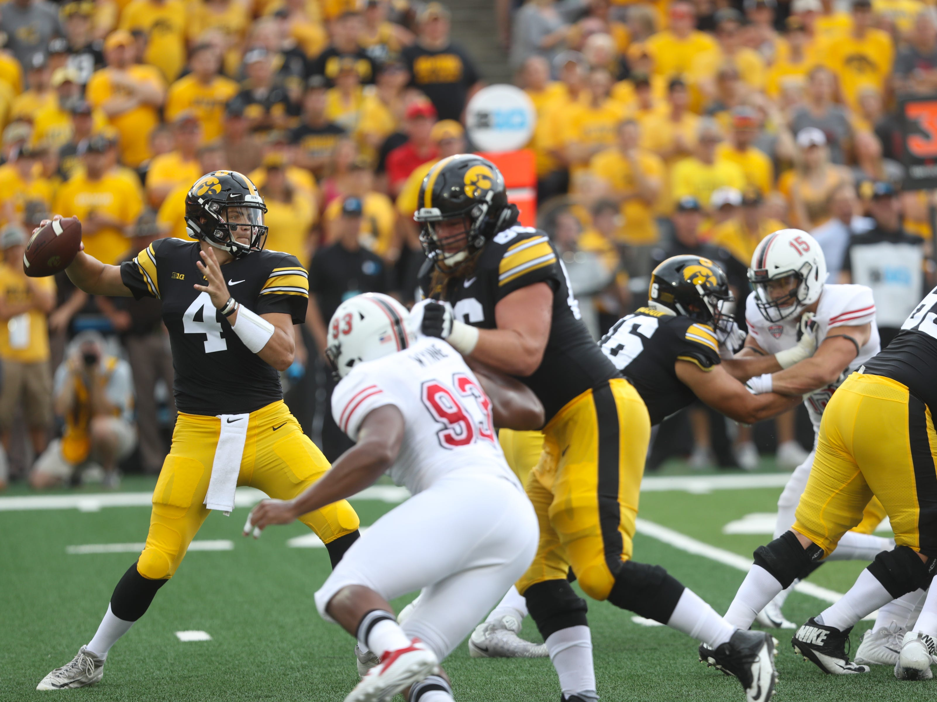 Iowa quarterback Nate Stanley throws down field during the Hawkeyes' game against Northern Illinois at Kinnick Stadium on Satuday, Sept. 1, 2018.