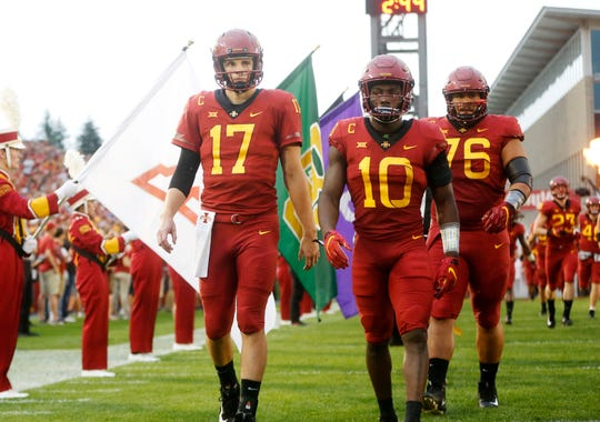 Iowa State quarterback Kyle Kempt (17) comes onto the field with his teammates Saturday, Sept. 1, 2018, during their game against South Dakota State at Jack Trice Stadium in Ames.