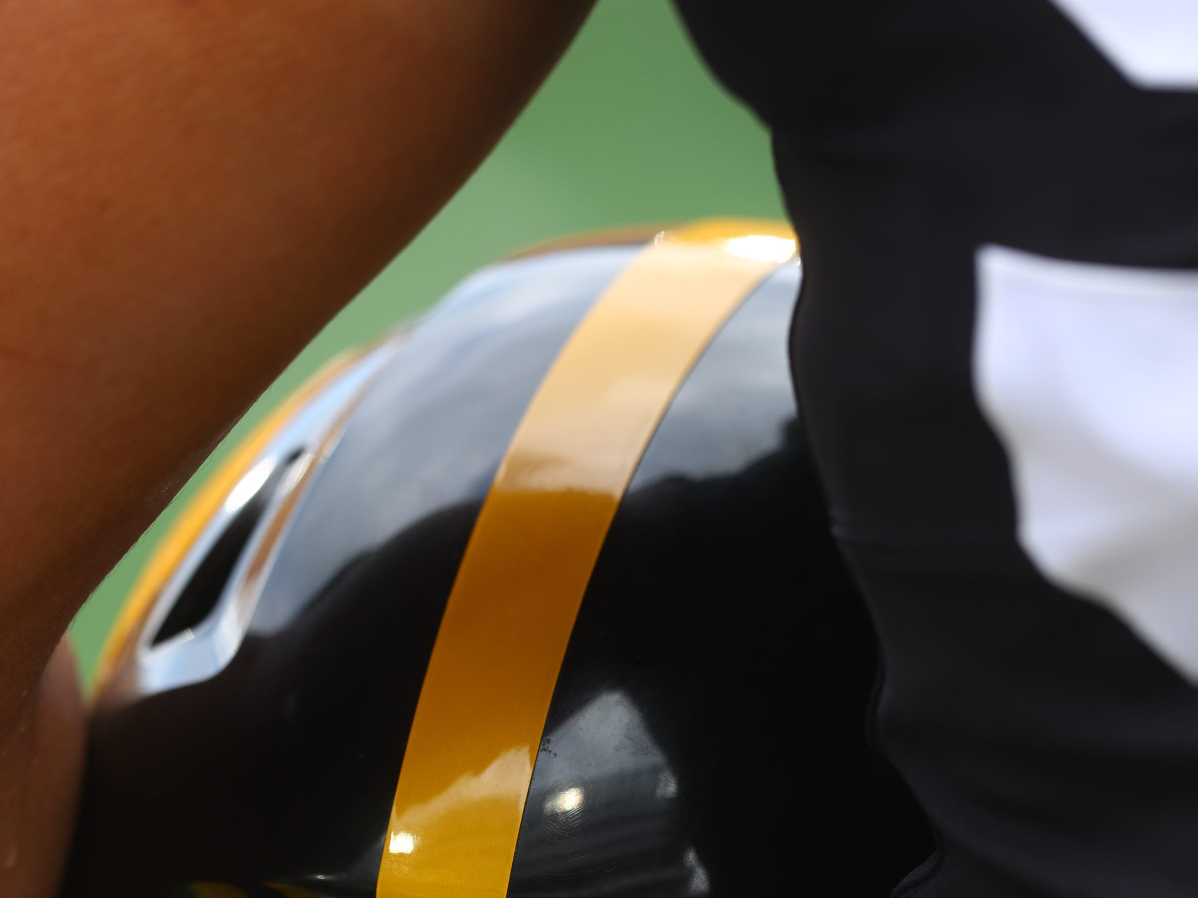 Iowa's A.J. Epenesa stands for the national anthem during the Hawkeyes' game against Northern Illinois at Kinnick Stadium on Satuday, Sept. 1, 2018.