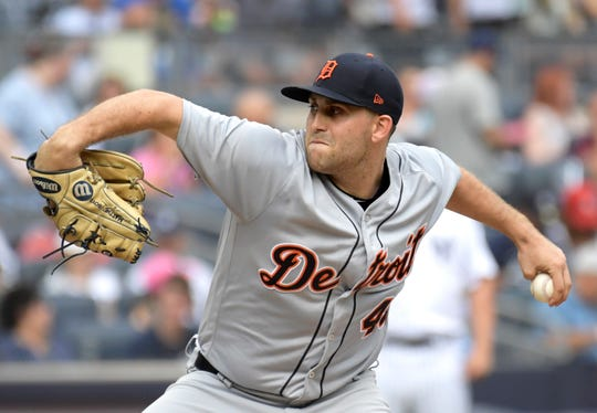 Tigers pitcher Matthew Boyd delivers the ball during the second inning on Sunday, Sept. 2, 2018, in New York.