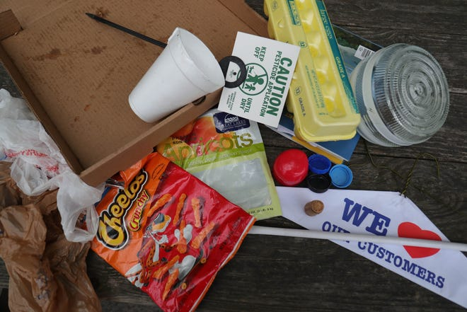 Items that should not be recycled include: hangers, chip bags, plastics, loose glass and pizza boxes seen here Thursday, August 30, 2018.
