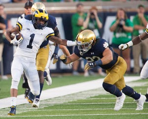 Ambry Thomas returned a kick 99 yards for a score against Notre Dame in Michigan's 2018 season opener.