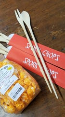 The best stocking stuffer ever--spork chops from Capers Emporium. Perfect for eating cheesey snacks without oranging your fingertips.