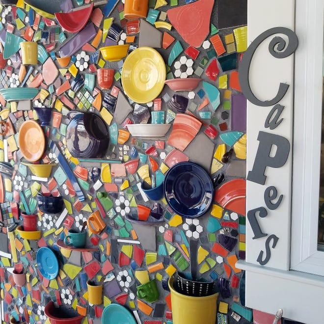 The eclectic and artsy Capers fits right in on New Harmony's colorful Main Street.