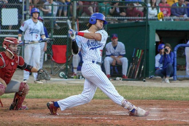 Drew Mendoza crushes a pitch in the Cape Cod Baseball League.