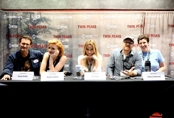 "(L-R) Actors George Griffith, Nicole LaLiberte, Amy Shiels, John Pirruccello and executive producer Sabrina S. Sutherland attend ""Twin Peaks"" autograph signings and fan events during  Comic-Con International 2018 at San Diego Convention Center on July 20, 2018 in San Diego, California."