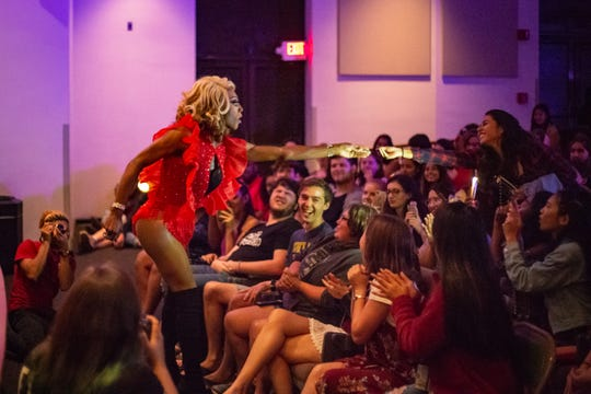 Zha'Maria Dior Cassadine interacts with the crowd during her number, 'Burnin' Up' on Friday, August 31, Tallahassee, FL.