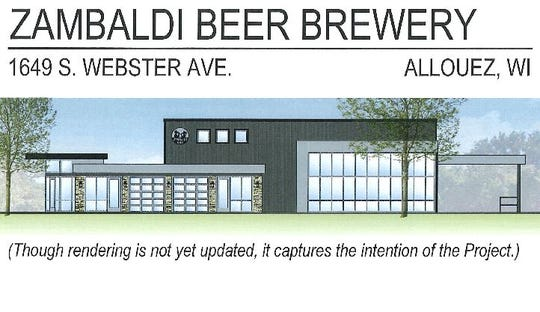 A rendering of the Zambaldi Beer Brewery building proposed for 1649 S. Webster Ave., in Allouez.