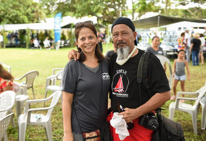 Former Guam Community College classmates Mike Hargis and Rose Marie Siguenza during the annual Government of Guam Labor Day Picnic at Gov. Joseph Flores Beach Park in Tumon on Sept. 2, 2018.