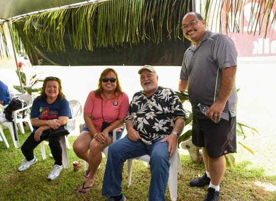 Guam Department of Chamorro Affairs employees with their familes during the annual Government of Guam Labor Day Picnic at Gov. Joseph Flores Beach Park in Tumon on Sept. 2, 2018. From right: Jeff San Nicolas, Sonny Lujan, Marge Perez, and Shirley Perez.
