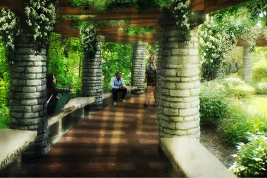 An artist's depiction of the mature look of the St. Francis Colonnade, a Jens Jensen design at Riverdale-Allison Mansion on the Marian University campus.