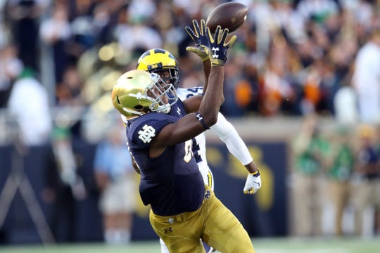Notre Dame receiver Miles Boykin catches a pass against Michigan.