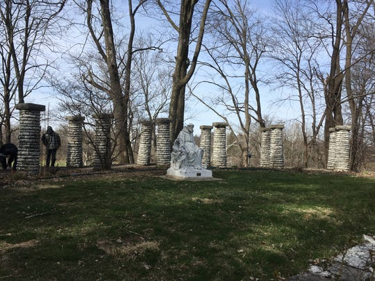 In April 2017, only some of the colonnade's pillars remain and ones that are there were in disrepair. The colonnades are part of the Jens Jensen-designed Riverdale landscape at Allison Mansion on the campus of Marian University.