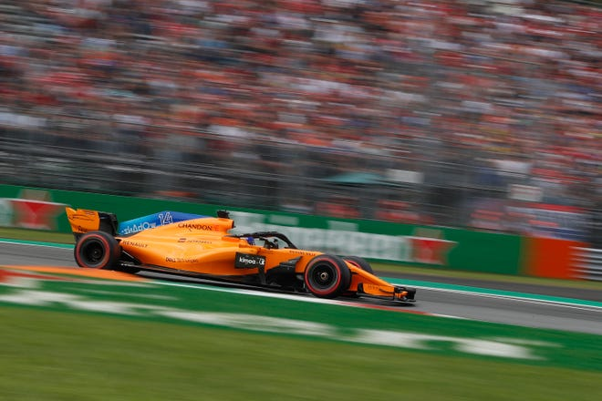 Mclaren driver Fernando Alonso of Spain steers his car during the qualifying session at the Monza racetrack, in Monza, Italy, Saturday, Sept. 1, 2018. The Formula One race will be held on Sunday.