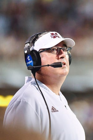 Sep 1, 2018; Starkville, MS, USA; Mississippi State Bulldogs head coach Joe Moorhead watches the action during the second quarter against the Stephen F. Austin Lumberjacks at Davis Wade Stadium. Mandatory Credit: Matt Bush-USA TODAY Sports
