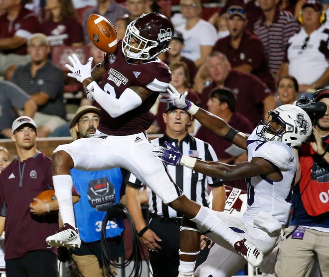 Mississippi State cornerback Cameron Dantzler (3) defends a pass intended for Stephen F. Austin wide receiver Tamrick Pace (80) in the second half of an NCAA college football game, Saturday, Sept. 1, 2018, in Starkville, Miss. Mississippi State won 63-6. (AP Photo/Rogelio V. Solis)