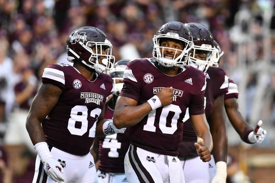 Sep 1, 2018; Starkville, MS, USA; Mississippi State Bulldogs quarterback Keytaon Thompson (10) reacts after a touchdown during the first quarter against the Stephen F. Austin Lumberjacks at Davis Wade Stadium. Mandatory Credit: Matt Bush-USA TODAY Sports