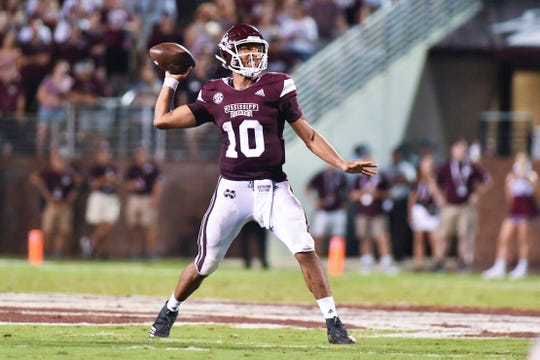 Sep 1, 2018; Starkville, MS, USA; Mississippi State Bulldogs quarterback Keytaon Thompson (10) make a pass against the Stephen F. Austin Lumberjacks during the second quarter at Davis Wade Stadium. Mandatory Credit: Matt Bush-USA TODAY Sports