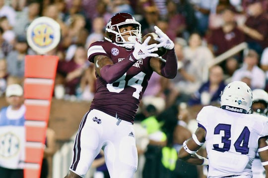 Sep 1, 2018; Starkville, MS, USA; Mississippi State Bulldogs tight end Dontea Jones (84) makes a reception for a touchdown against the Stephen F. Austin Lumberjacks during the second quarter at Davis Wade Stadium. Mandatory Credit: Matt Bush-USA TODAY Sports