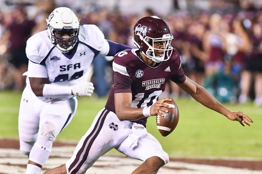 Sep 1, 2018; Starkville, MS, USA; Mississippi State Bulldogs quarterback Keytaon Thompson (10) runs the ball against the Stephen F. Austin Lumberjacks during the second quarter at Davis Wade Stadium. Mandatory Credit: Matt Bush-USA TODAY Sports