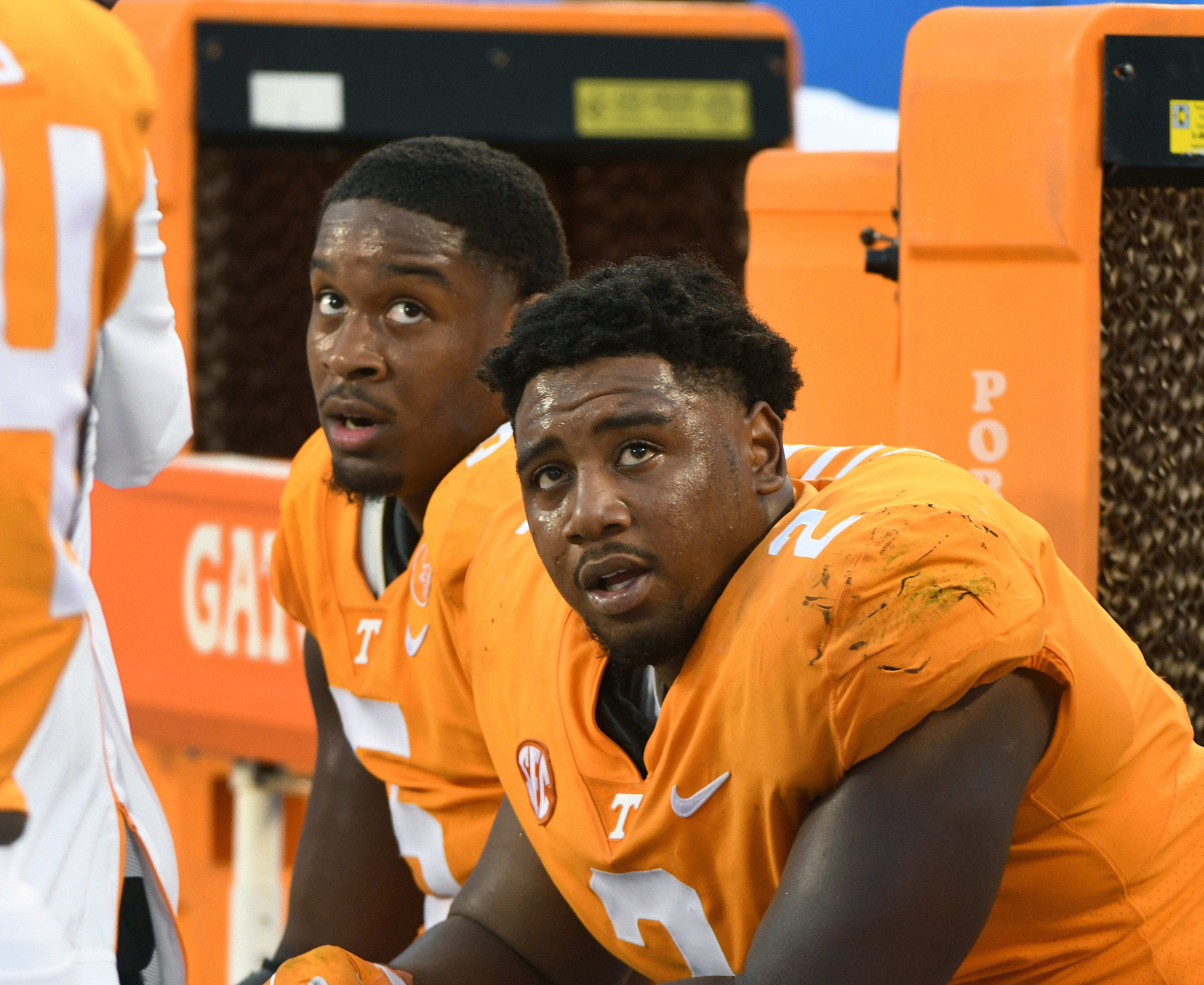 Tennessee defensive lineman Shy Tuttle (2) on the bench during the final minutes of their 40-14 loss to West Virginia in the Belk College Kickoff game in Charlotte, NC Saturday, September 1, 2018.