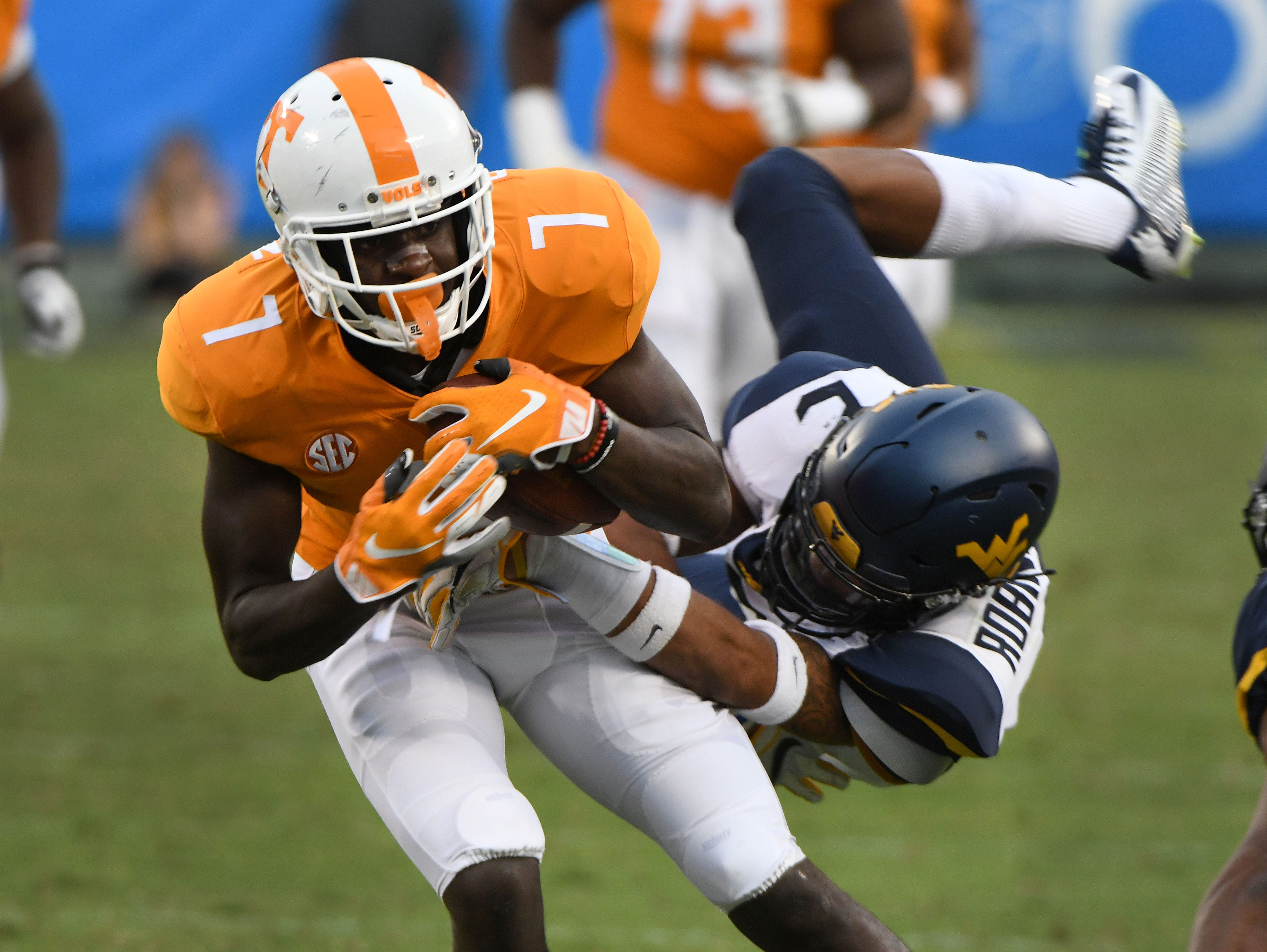 Tennessee wide receiver Brandon Johnson (7) during the final minutes of their 40-14 loss to West Virginia in the Belk College Kickoff game in Charlotte, NC Saturday, September 1, 2018.